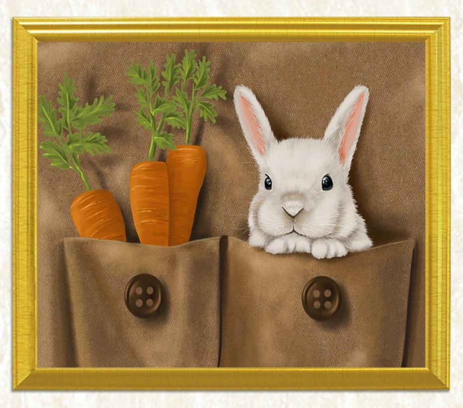 Rabbit and Carrots DIY Diamond Painting - diamond-painting-bliss.myshopify.com