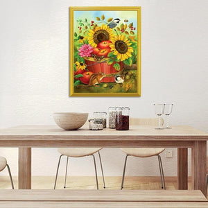 Squirrel, Sparrow & Sunflowers Painting - diamond-painting-bliss.myshopify.com