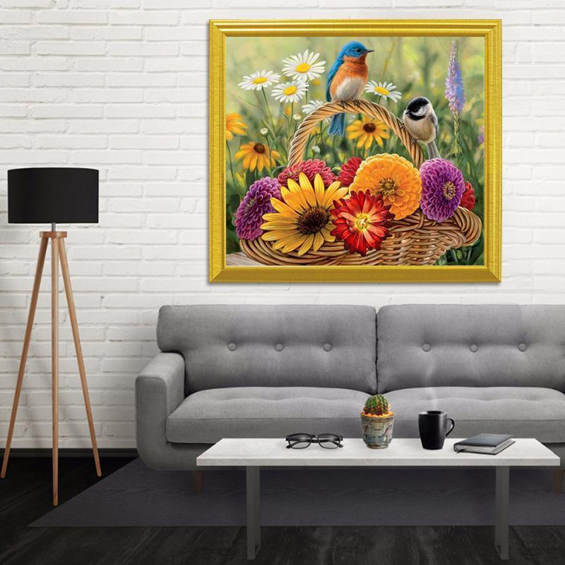 Sparrows & Flowers DIY Painting - diamond-painting-bliss.myshopify.com