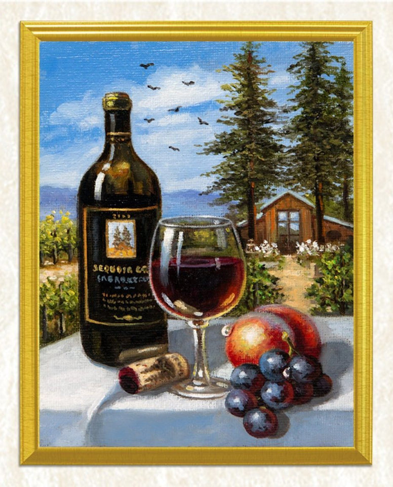 Wine Bottle & Glass with Fruits DIY Painting - diamond-painting-bliss.myshopify.com