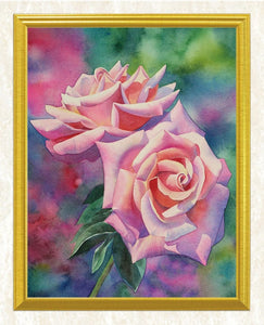 Pink Roses & Green Leaves DIY Painting - diamond-painting-bliss.myshopify.com