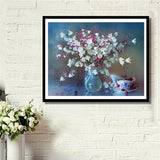 White & Pink Flowers DIY Painting - diamond-painting-bliss.myshopify.com