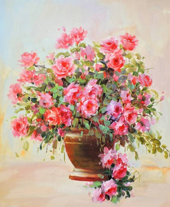 Fresh Pink Flowers Pot DIY Painting - diamond-painting-bliss.myshopify.com