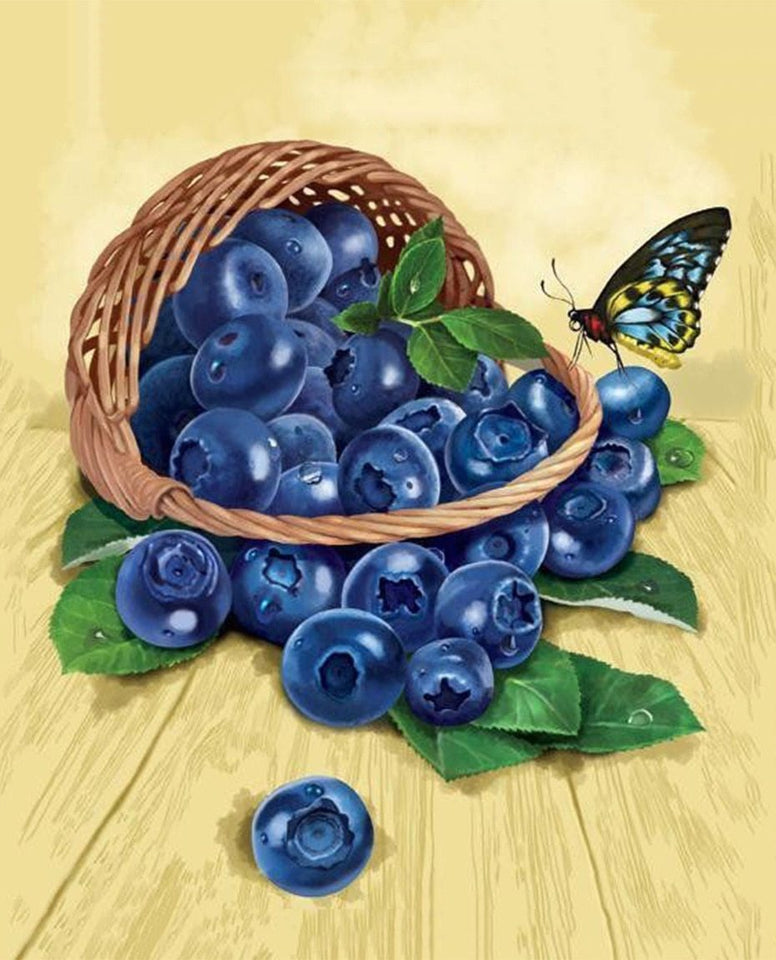 Basket of Blueberries & Butterfly - diamond-painting-bliss.myshopify.com