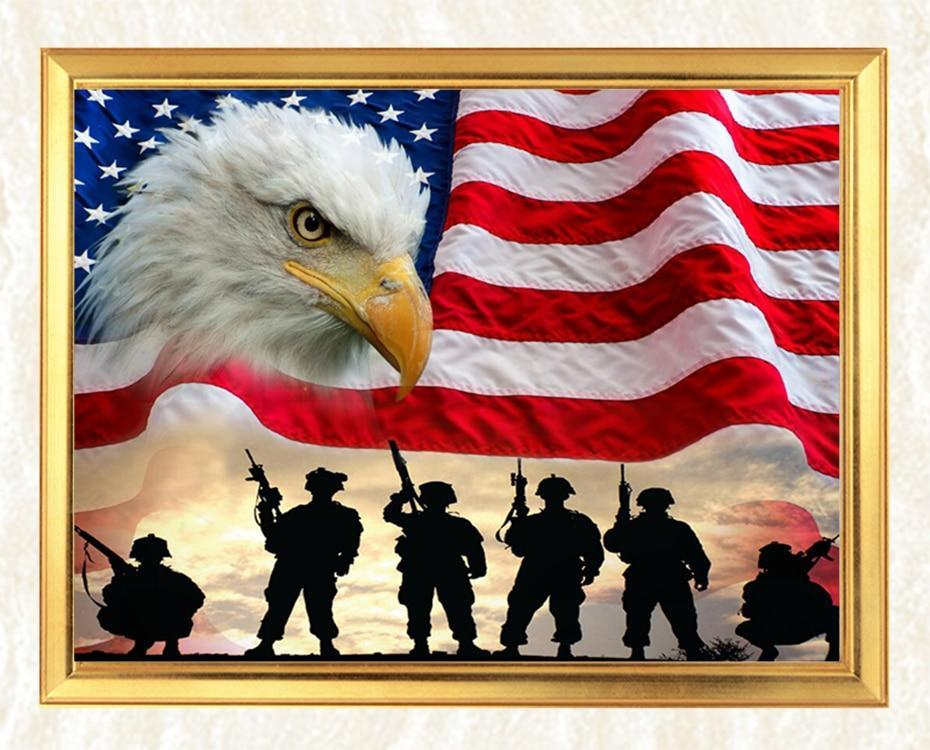 Soldiers, Eagle & American Flag - diamond-painting-bliss.myshopify.com