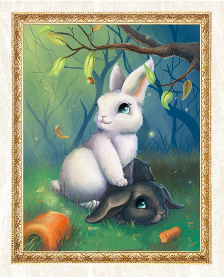 Black & White Rabbits in Forest - diamond-painting-bliss.myshopify.com