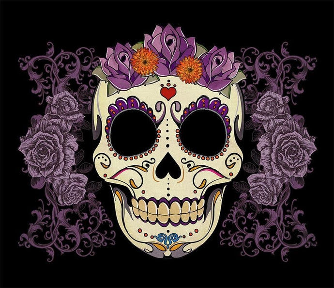 Sugar Skull & Flowers Diamond Painting - diamond-painting-bliss.myshopify.com