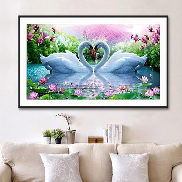 White Swans Love DIY Diamond Painting - diamond-painting-bliss.myshopify.com