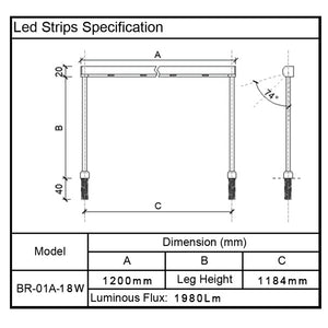 Led Strips Led Bar for Glass Display Showcase BR-01-18W
