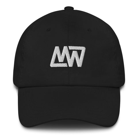 Black Dad Hat // White MW Embroidery Front View