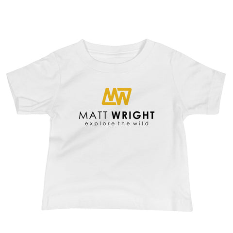 White Baby Short-Sleeve T-Shirt // Coloured Matt Wright Explore the Wild Classic Logo Print