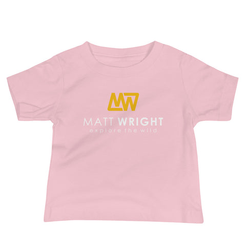 Pink Baby Short-Sleeve T-Shirt // Coloured Matt Wright Explore the Wild Classic Logo Print