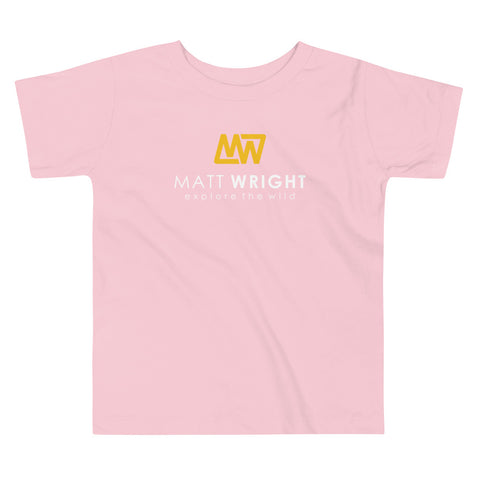 Pink Toddler Short-Sleeve T-Shirt // Coloured Matt Wright Explore the Wild Classic Logo Print