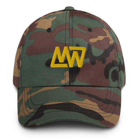 Green Camo Dad Hat // Gold MW Embroidery Front View