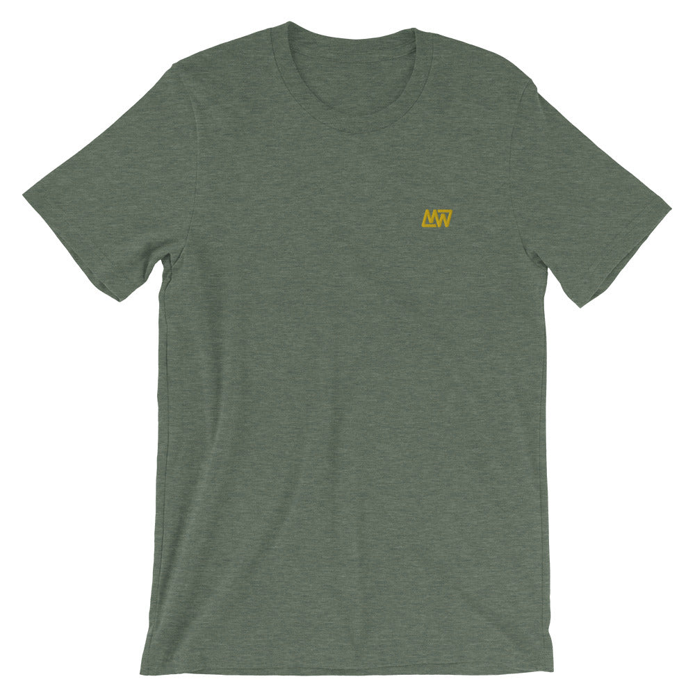 Heather Forest Green Short-Sleeve Unisex T-Shirt // Gold MW Embroidery