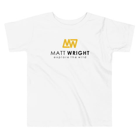 White Toddler Short-Sleeve T-Shirt // Coloured Matt Wright Explore the Wild Classic Logo Print