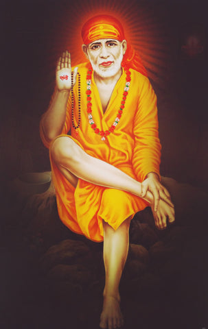 Poster Of Sai Baba In Orange , Poster - J.B. Khanna, OnlinePrasad.com
