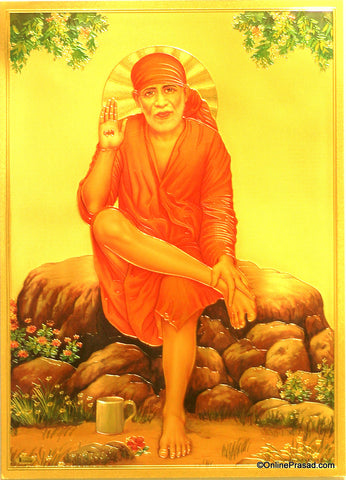 The Sai Baba Wearing Red Clothes Golden Poster , Poster - Zevotion, OnlinePrasad.com