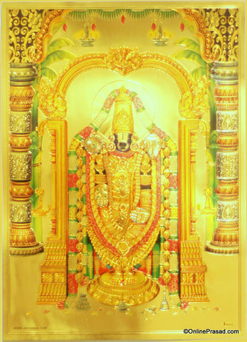 The Tirupati Balaji In Golden Shringar Golden Poster , Poster - Zevotion, OnlinePrasad.com