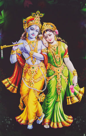 Poster Of Radha Krishna In Golden Yellow - OnlinePrasad.com