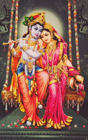 Poster Of Radha Krishna In Red - OnlinePrasad.com