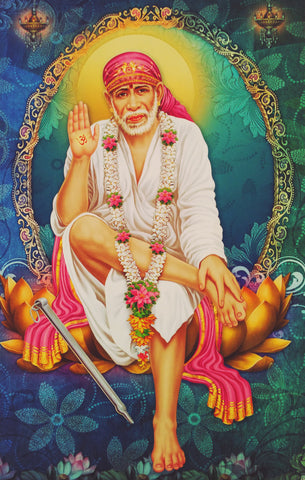 Poster Of Sai Baba In White , Poster - J.B. Khanna, OnlinePrasad.com