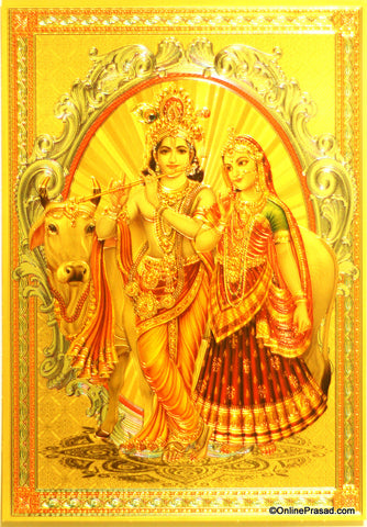 The Radhakrishna With Cow Golden Poster - OnlinePrasad.com