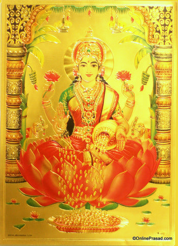 The Maa Lakshmi On Lotus Golden Poster - OnlinePrasad.com