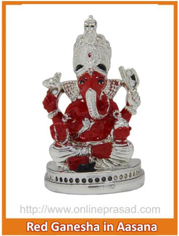 The Red Ganesha In Aasana Idol , Zevotion - Sai Shagun, OnlinePrasad.com