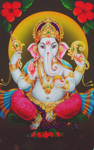 Poster Of Ganesha In Red - OnlinePrasad.com