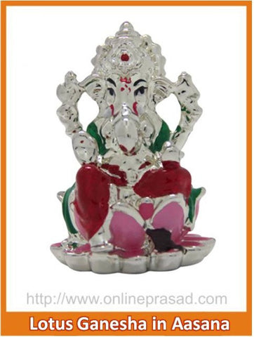 The Lotus Ganesha in Aasana Idol - OnlinePrasad.com