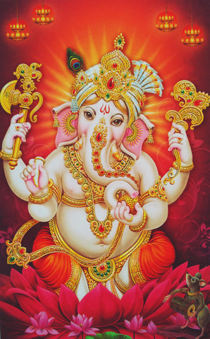 Poster Of Ganesha In Orange - OnlinePrasad.com