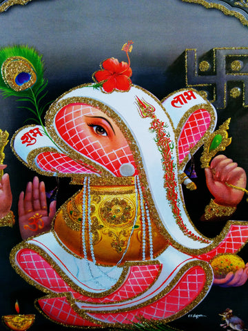 Poster Of Ganesh In White With Pink - OnlinePrasad.com