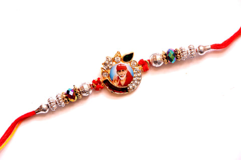 Sai  Baba Rakhi with Beads and Studded design - OnlinePrasad.com