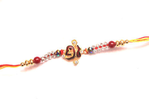 Ek Onkar Rakhi with Crystal and Stones - OnlinePrasad.com