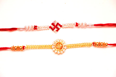Combo rakhi pack of Ek Onkars in white and red cystal , Zevotion Rakhis - Zevotion, OnlinePrasad.com