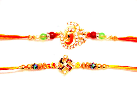 Combo rakhi pack of Studded Ganesha and Studded Swastik in red and white - OnlinePrasad.com