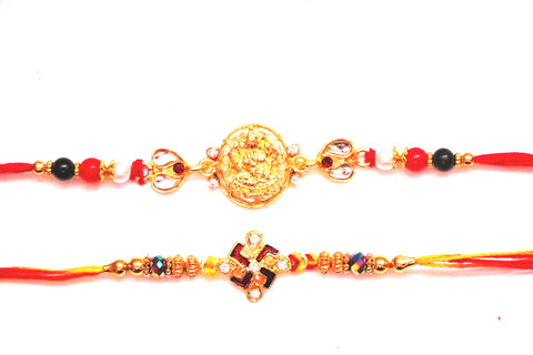 Combo rakhi pack of Laxmi in Gold and Swastik in red and white , Zevotion Rakhis - Zevotion, OnlinePrasad.com