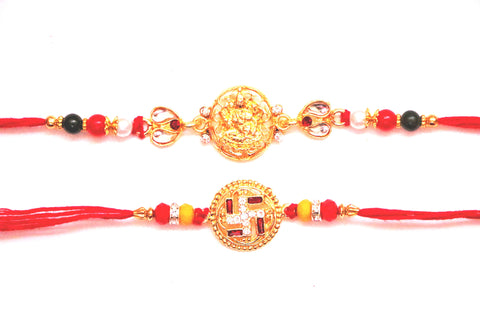 Combo rakhi pack of Laxmi in Gold and Swastik in red and white with gold dial , Zevotion Rakhis - Zevotion, OnlinePrasad.com