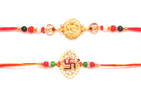 Combo rakhi pack of studded Jagnnath and white stones - OnlinePrasad.com