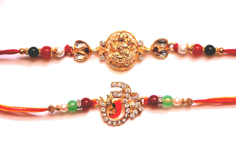 Combo rakhi pack of Laxmi in  gold and studded Om , Zevotion Rakhis - Zevotion, OnlinePrasad.com