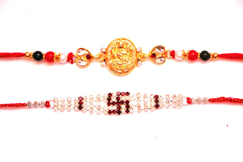 Combo rakhi pack of Laxmi in Gold and Swastik in red and white - OnlinePrasad.com