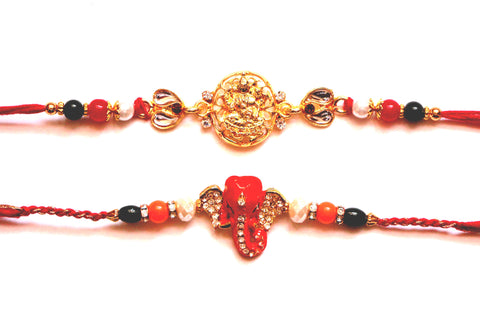 Combo rakhi pack of Laxmi in Gold and Studded Ganesha - OnlinePrasad.com