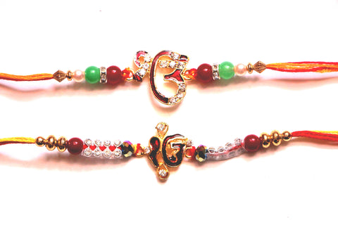 Combo rakhi pack of Ek Onkars in red and white - OnlinePrasad.com