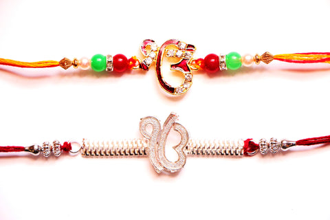 Combo rakhi pack of Ek Onkars in red and white crystal , Zevotion Rakhis - Zevotion, OnlinePrasad.com