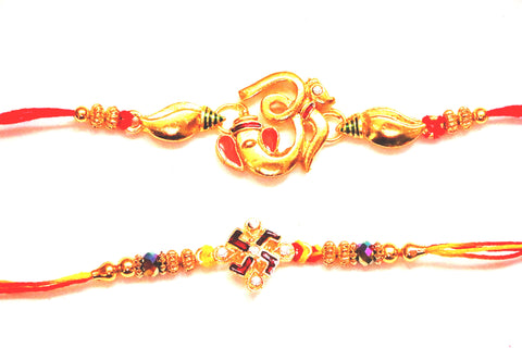 Combo rakhi pack of Ganesha in gold and Swastik with Red and White crystals , Zevotion Rakhis - Zevotion, OnlinePrasad.com