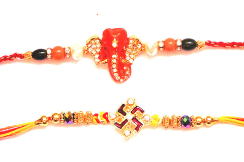 Combo rakhi pack of Studded Ganesha and Studded Swastik with Beads , Zevotion Rakhis - Zevotion, OnlinePrasad.com