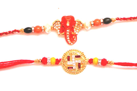 Combo rakhi pack of Studded Ganesha and Swastik with gold dial - OnlinePrasad.com