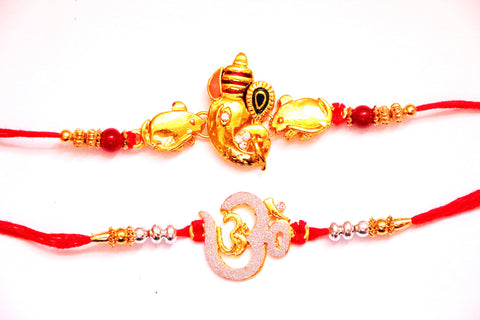 Combo rakhi pack of Laxmi in Gold and Om in pearl - OnlinePrasad.com