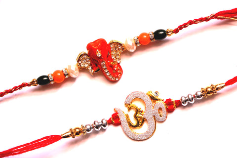 Combo rakhi pack of orange Ganesha and silver Om - OnlinePrasad.com